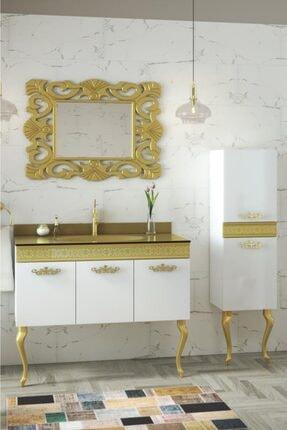 Housepack Gold Beyaz 135 Cm Boy Dolaplı Cam Lavabolu Lüx Banyo Takımı 1