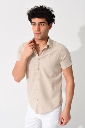 Tena Moda Erkek Taş Kısa Kollu Apaş Yaka Regular Keten Gömlek 1