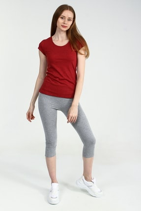 Collezione Kırmızı Yuvarlak Kesim Kısa Kollu Basic Kadın Tshirt 2