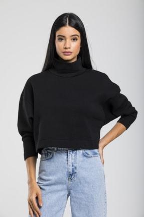 TAKE7 Kadın Siyah Boğazlı Örme Sweatshirt 0