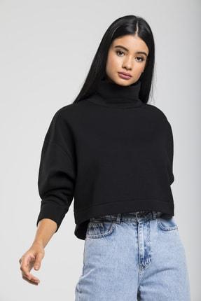 TAKE7 Kadın Siyah Boğazlı Örme Sweatshirt 1