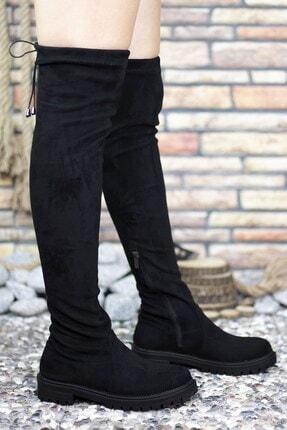Riccon Süet Siyah Kadın Uzun Çizme 0012300 2