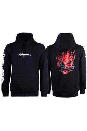 Bant Giyim - Cyberpunk 2077 Samurai Siyah Kapşonlu Sweatshirt 0