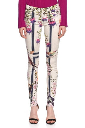 Mother Çiçek Desenli Skinny Beyaz Jean Pantolon 0