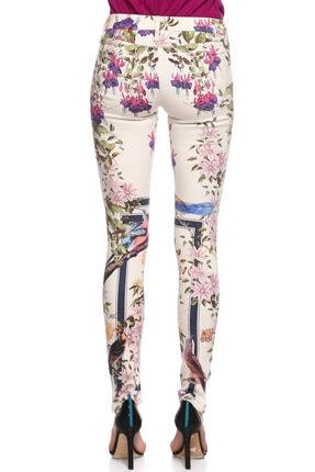 Mother Çiçek Desenli Skinny Beyaz Jean Pantolon 4