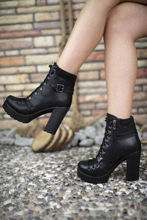 Riccon Cilt Siyah Kadın Yüksek Topuklu Bot 0012sp03 1