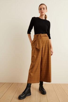 adL Kadın Tarçın Beli Kuşaklı Bol Ekose Pantolon 3