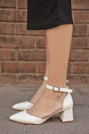 Straswans Holly Deri Kapitoneli Topuklu Ayakkabı Beyaz 0