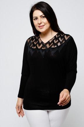 Ebsumu Kadın Büyük Beden Yakası Işlemeli Yarasa Kol Siyah Bluz 0