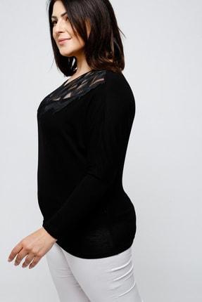 Ebsumu Kadın Büyük Beden Yakası Işlemeli Yarasa Kol Siyah Bluz 3