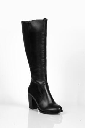 Deripabuc Hakiki Deri Siyah Kadın Deri Çizme Dp02-3086 2