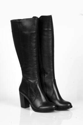 Deripabuc Hakiki Deri Siyah Kadın Deri Çizme Dp02-3086 4