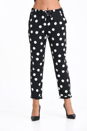 Modkofoni Belden Lastikli Ve Bağcıklı Duble Paça Beyaz Puantiyeli Viskon Siyah Pantolon 3
