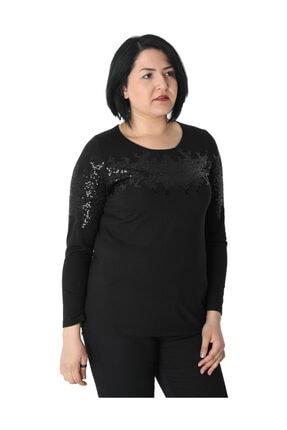 Günay Kadın Bluz Nly1008 Sonbahar Kış O Yaka Pul Detay-sıyah 2