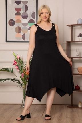 1fazlası Kadın Büyükbeden Genis Askılı Omzu Halka Detaylı Elbise 3