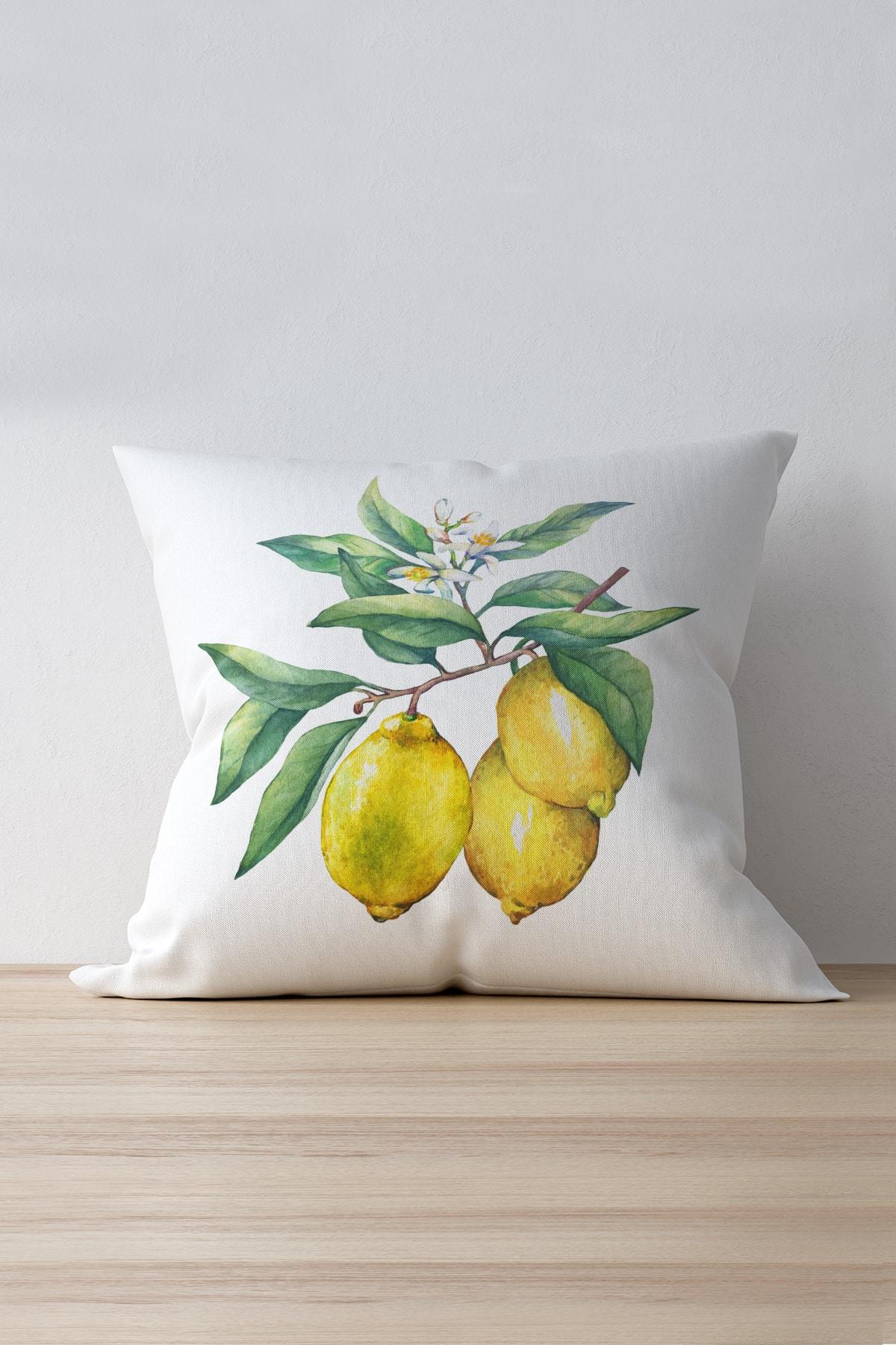 Beyaz Sarı Limon Desenli Dijital Baskılı Kırlent Kılıfı - Oytyk901 Esnafali
