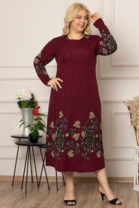 1fazlası Kadın Siyah Çiçek Desen Uzun Esnek Krep Elbise 1