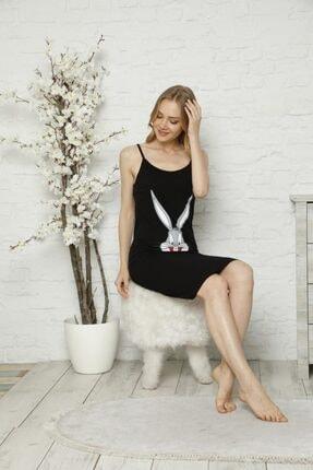 Tena Moda Kadın Siyah Ip Askılı Bugs Bunny Baskılı Gecelik Pijama 1