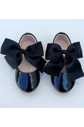 Riccotarz Kız Çocuk Siyah  Kurdaleli Rugan Babet Ayakkabı 4