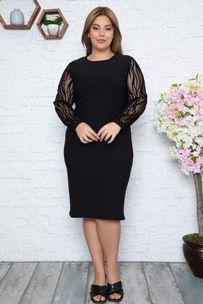 Osyoumoda Kadın Büyük Beden Flok Desenli Şifon Kol Elbise 0