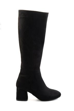 Bambi Siyah Süet Kadın Çizme M0842081565 1