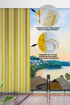 ALTINPAMUK 500x200 Balkon Perdesi Balkon Brandası Sarı Beyaz Kuşgözlü 1