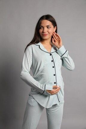 Lohusa Sepeti Justine Önden Düğmeli Pijama Takımı Mint Yeşili 2