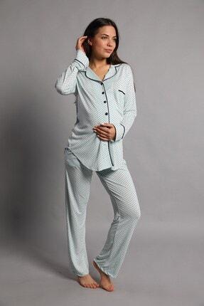 Lohusa Sepeti Justine Önden Düğmeli Pijama Takımı Mint Yeşili 3