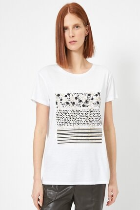 Koton Kadın Ekru Baskili T-shirt 0yak13740ek 2