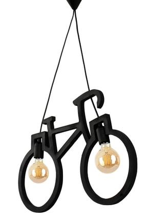 Bundera Wooden Bisiklet Sarkıt Avize Lüks Rustik Modern Dekoratif Lamba 0