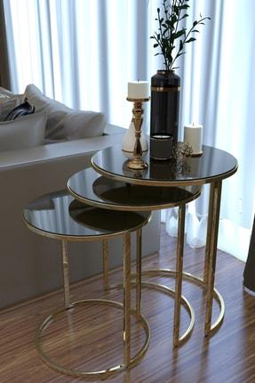HAUSEV Gold Metal Zigon Sehpa ''kırılmaz Siyah Cam '' 0