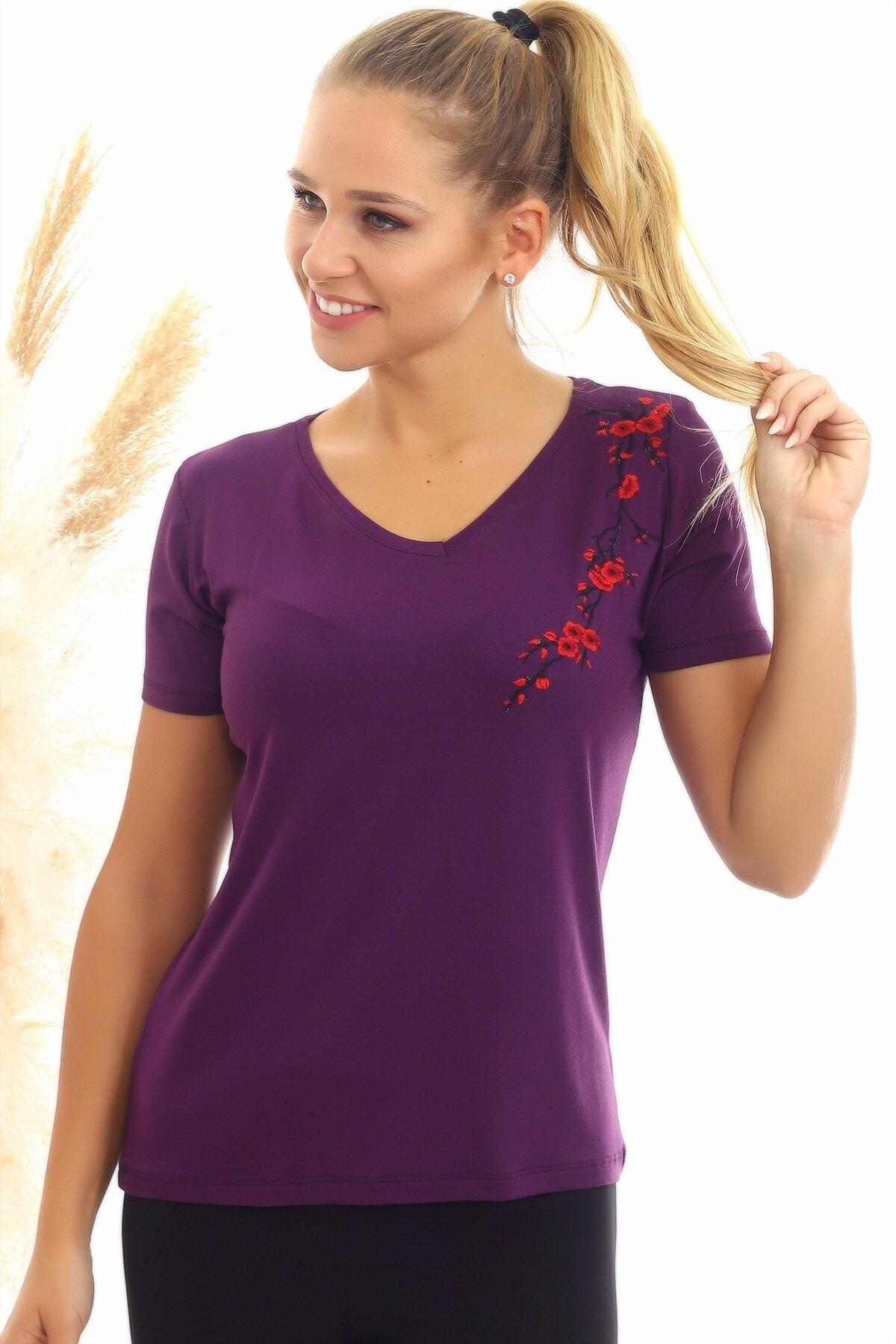 Cotton Mood 20050526 Süprem Omuzu Çiçek Nakışlı Kısa Kol Bluz Murdum