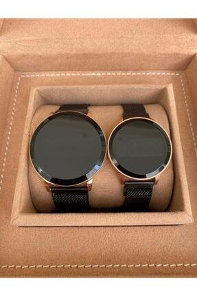 Gold Time Siyah Hasır Mıknatıslı Kordon Dokunmatik Çift Saatleri 1