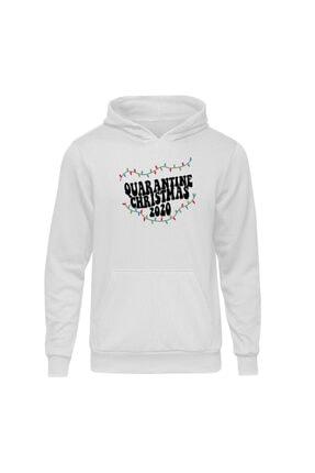 Fandomya Yılbaşı Quarantine Beyaz Kapşonlu Hoodie Sweatshirt 0