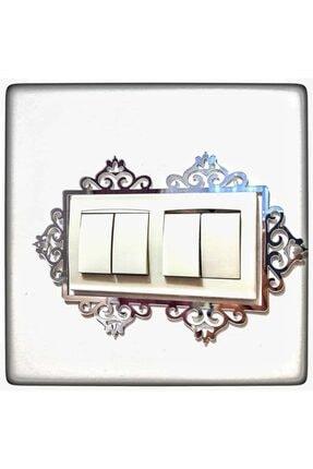 MBhediyedukkanı Dekoratif Priz Kenarı Süsü Gümüş Renk Çiftli 0