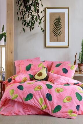 Fushia Avocado Pink %100 Pamuk Tek Kişilik Avakado Nevresim Seti 1