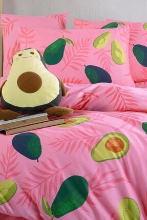 Fushia Avocado Pink %100 Pamuk Tek Kişilik Avakado Nevresim Seti 2