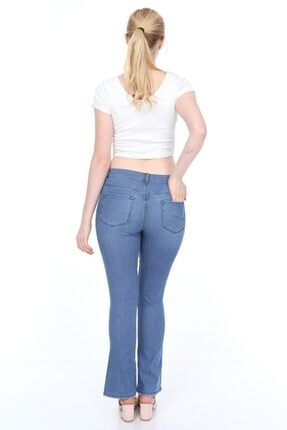 Alleben Bayan Normal Bel Yarım Ispanyol Paça Kot Pantolon 1