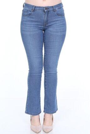 Alleben Bayan Normal Bel Yarım Ispanyol Paça Kot Pantolon 4