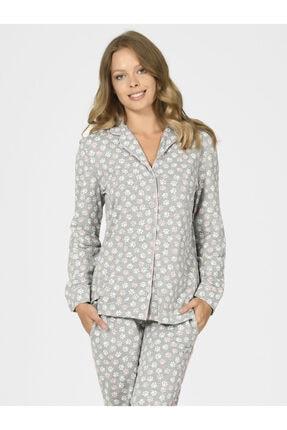 Nbb Önden Düğmeli Patili Kadın Pijama Takımı 67088 1