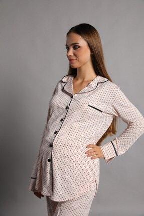 Lohusa Sepeti Justine Önden Düğmeli Pijama Takımı Somon 4