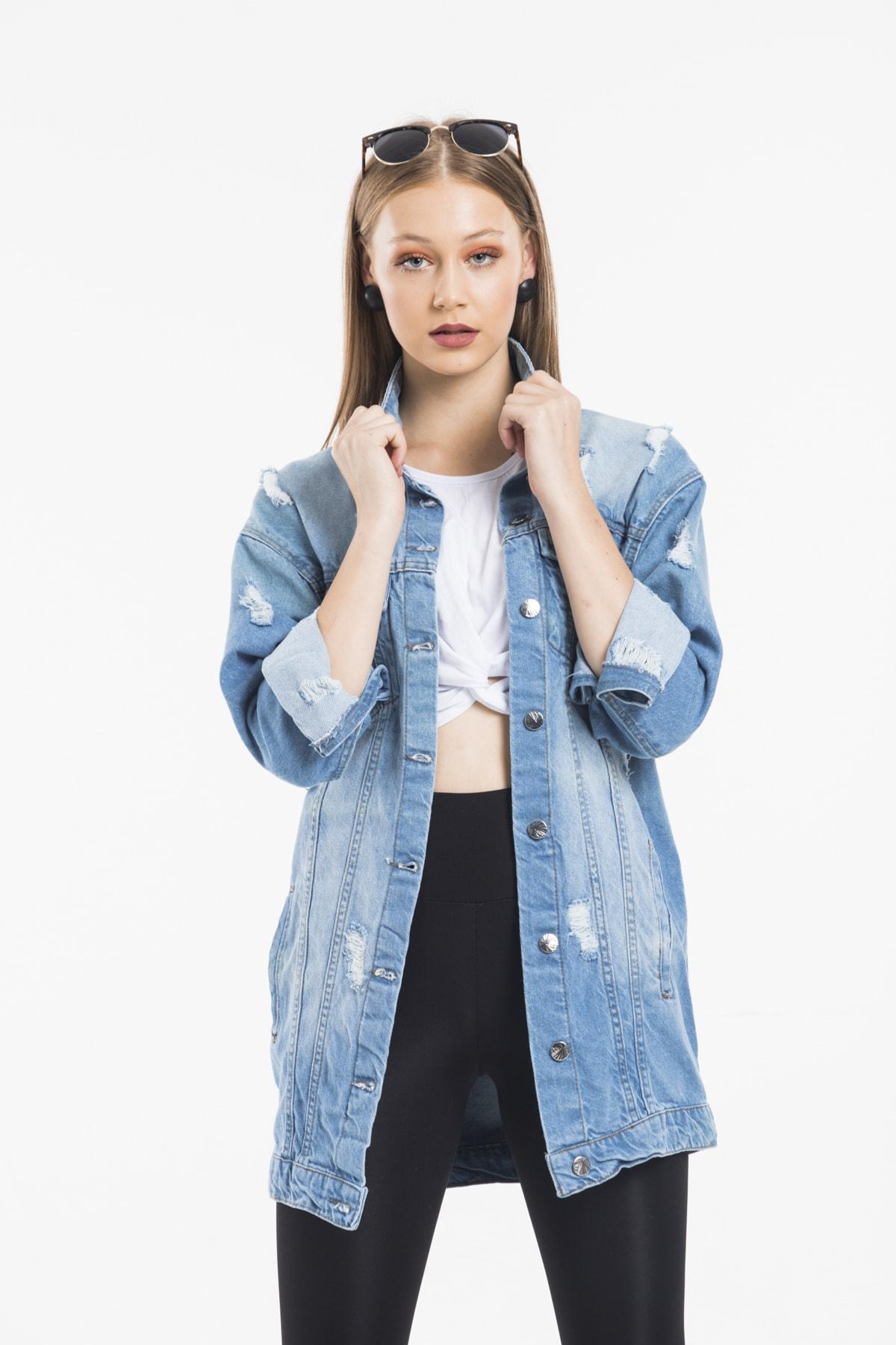 ladyzey Kadın Boyfriend Yarasa Kollu Mavi Yırtıklı Kot Ceket