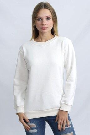 Deafox Ekru Üç Iplik Kadın Sweatshirt 1