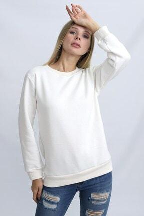 Deafox Ekru Üç Iplik Kadın Sweatshirt 2