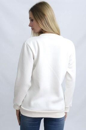Deafox Ekru Üç Iplik Kadın Sweatshirt 3