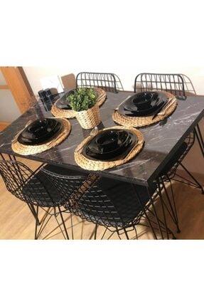 Avvio Sera 4 Kişilik Yemek Masası Takımı-mutfak Masası Takımı-balkon Masa Takımı -siyah Mermer Desenli 1