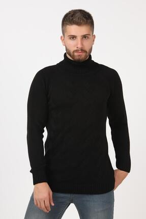 Tena Moda Erkek Siyah Balıkçı Boğazlı Yaka Reglan Kol Normal Fit Triko Kazak 0