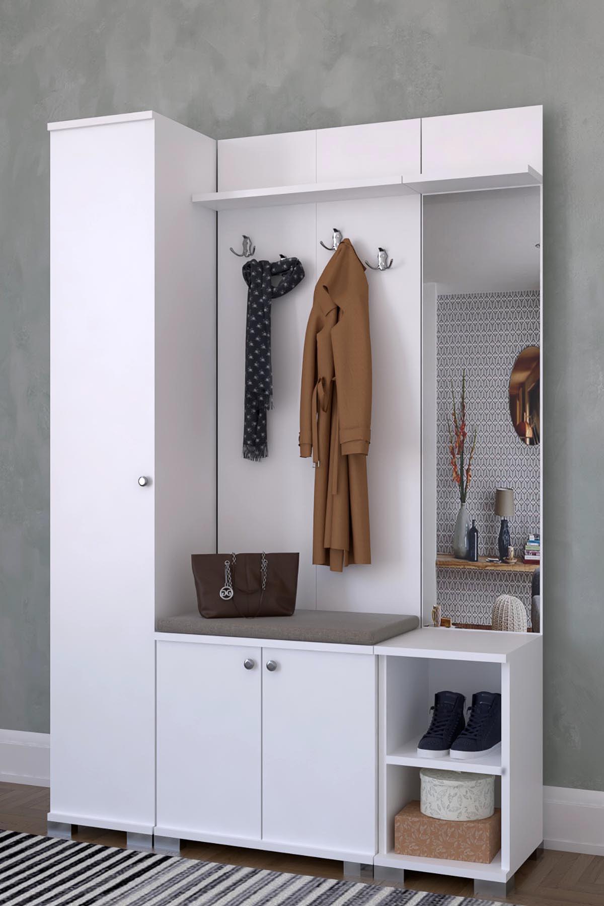 Aynalı 3 Kapaklı Portmanto Takımı, Askılık, Vestiyer Beyaz