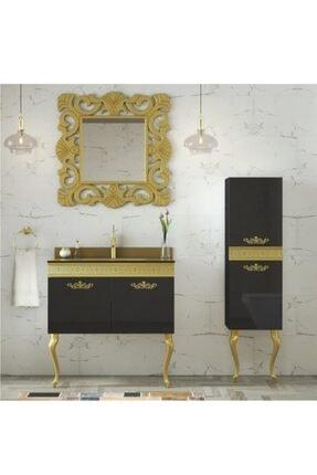 Housepack Gold Siyah 115 Cm Boy Dolaplı Cam Lavabolu Lüx Banyo Takımı 3