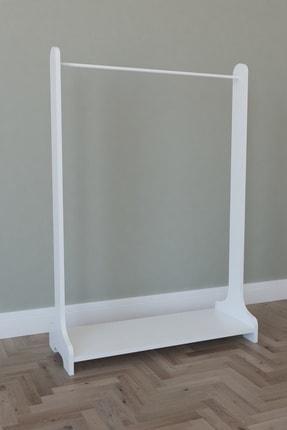 MONTANA Tek Raflı Ayaklı Portmanto Askılık, Konfeksiyon Elbise Askısı Beyaz 1
